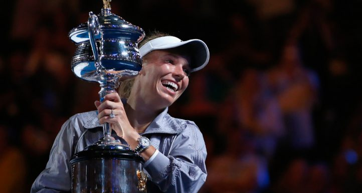 Caroline Wozniacki with Australian Open trophy