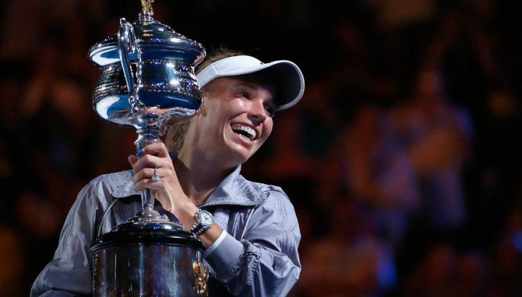 Caroline Wozniacki with Australian Open trophy