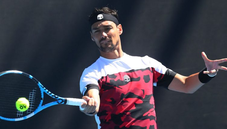 Fabio Fognini plays a forehand