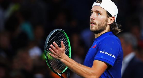 Lucas Pouille celebrates