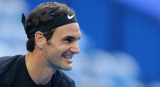 Roger Federer looks on