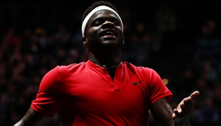 Frances Tiafoe celebrates