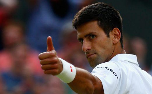 Novak Djokovic gives thumbs up
