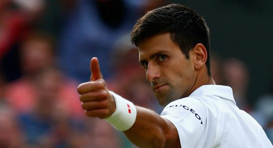 Novak Djokovic gives thumbs up