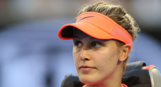 Eugenie Bouchard looks on