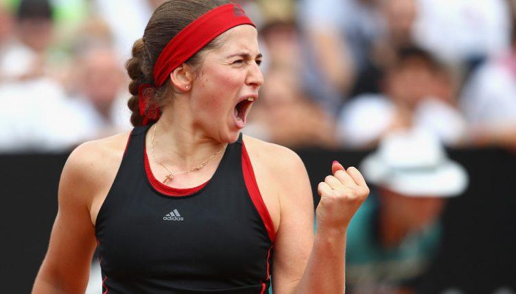 Jelena-Ostapenko celebrating
