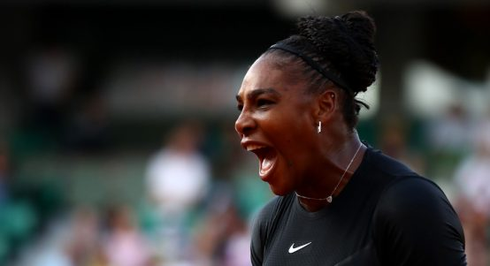 Serena Williams reacts