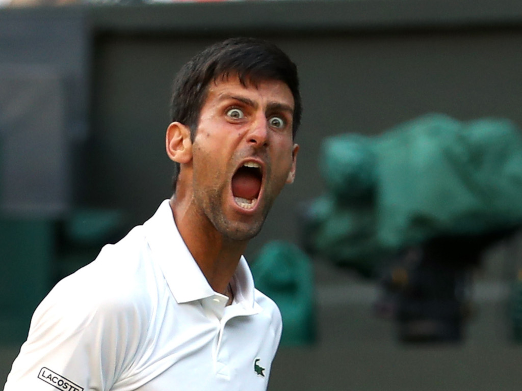 Novak Djokovic screaming