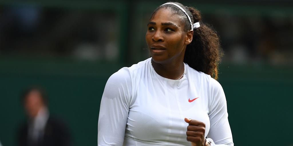 Serena Williams looks on