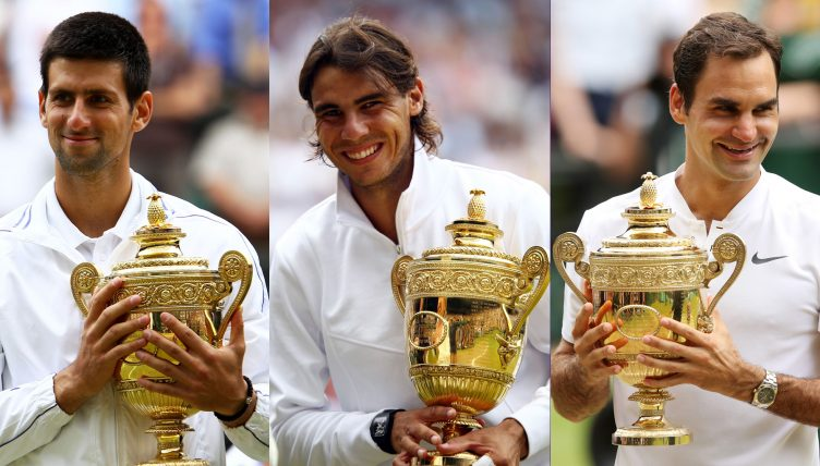 Novak Djokovic, Rafael Nadal, and Roger Federer with Wimbledon trophies