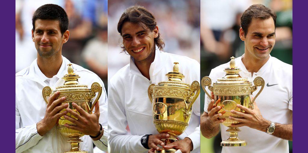 Novak Djokovic, Rafael Nadal, and Roger Federer with Wimbledon trophies