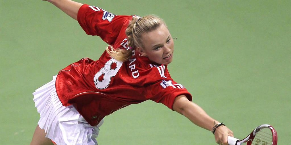 Caroline Wozniacki playing in Liverpool shirt