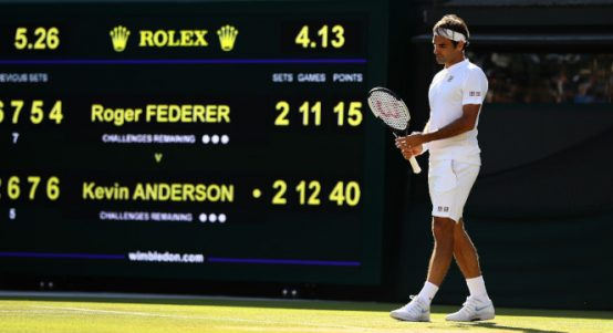 Roger Federer facing match point against Kevin Anderson at Wimbledon
