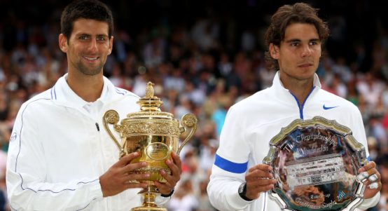 Rafael Nadal and Novak Djokovic at Wimbledon 2011