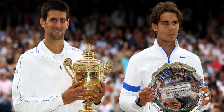 Rafael Nadal and Novak Djokovic at Wimbledon 2011