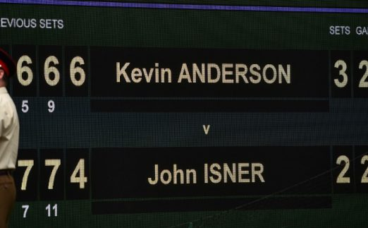 Kevin Anderson v John Isner scoreboard