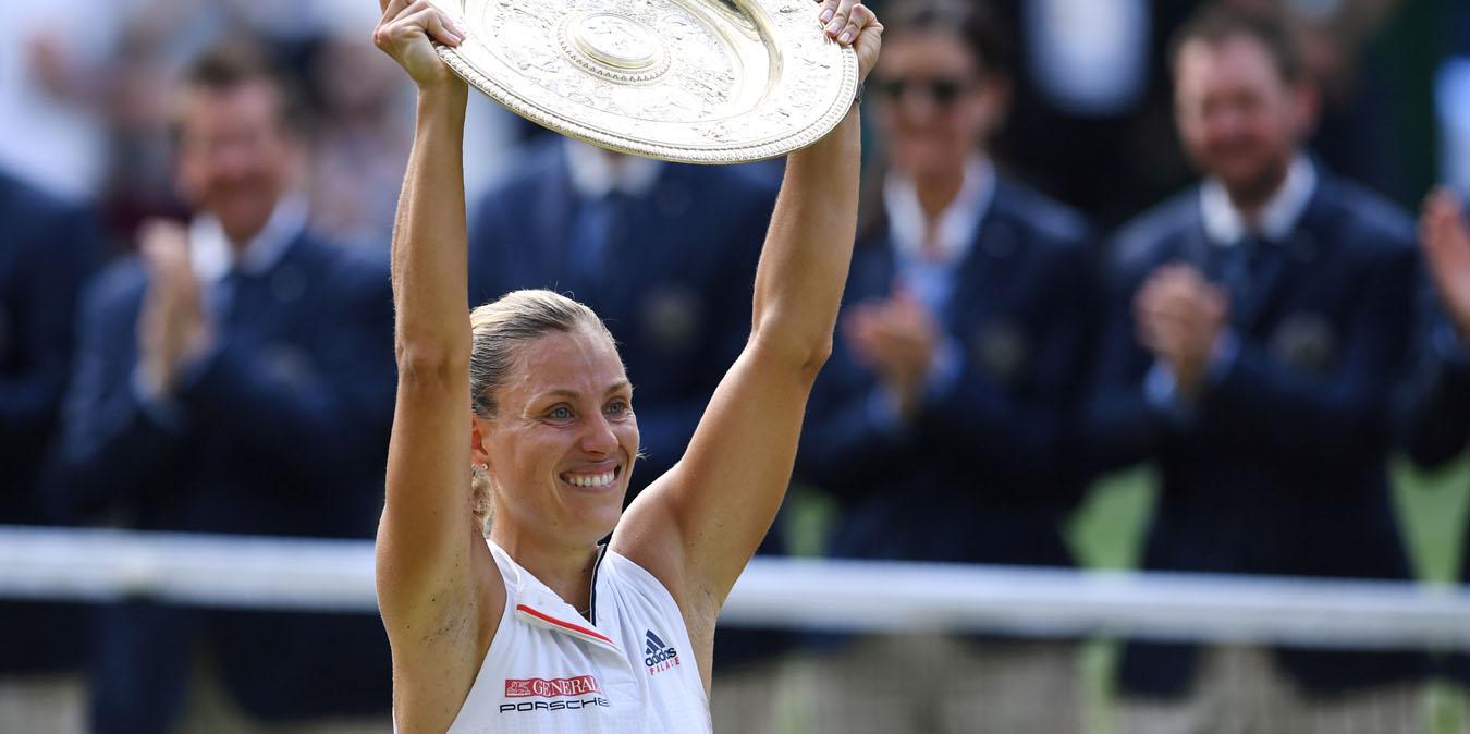 Angelique Kerber with Wimbledon trophy