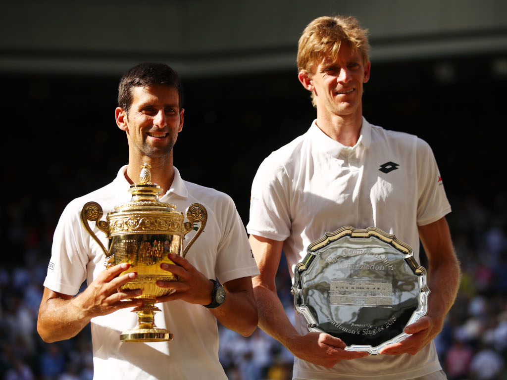 Novak Djokovic and Kevin Anderson after their Wimbledon final