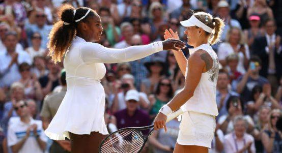Serena Williams congratulates Angelique Kerber