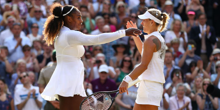 Serena Williams congratulates Angelique Kerber