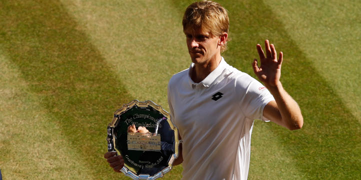 Kevin Anderson with Wimbledon runners-up trophy