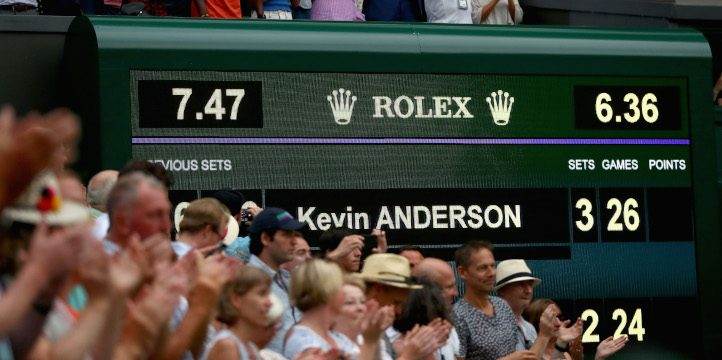 Kevin Anderson and John Isner Wimbledon scoreboard