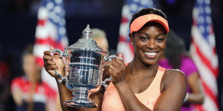 Sloane Stephens with US Open trophy