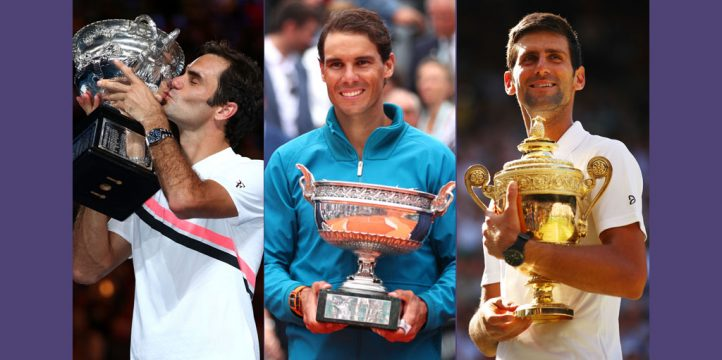 Roger Federer, Rafael Nadal, and Novak Djokovic with 2018 Grand Slam trophies