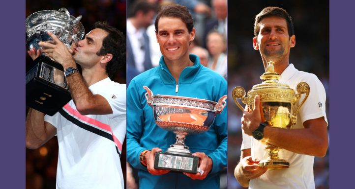 Roger Federer, Rafael Nadal, and Novak Djokovic with 2018 Grand Slam trophies
