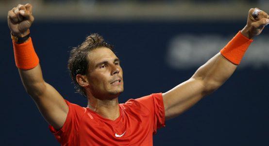 Rafael Nadal celebrates Rogers Cup