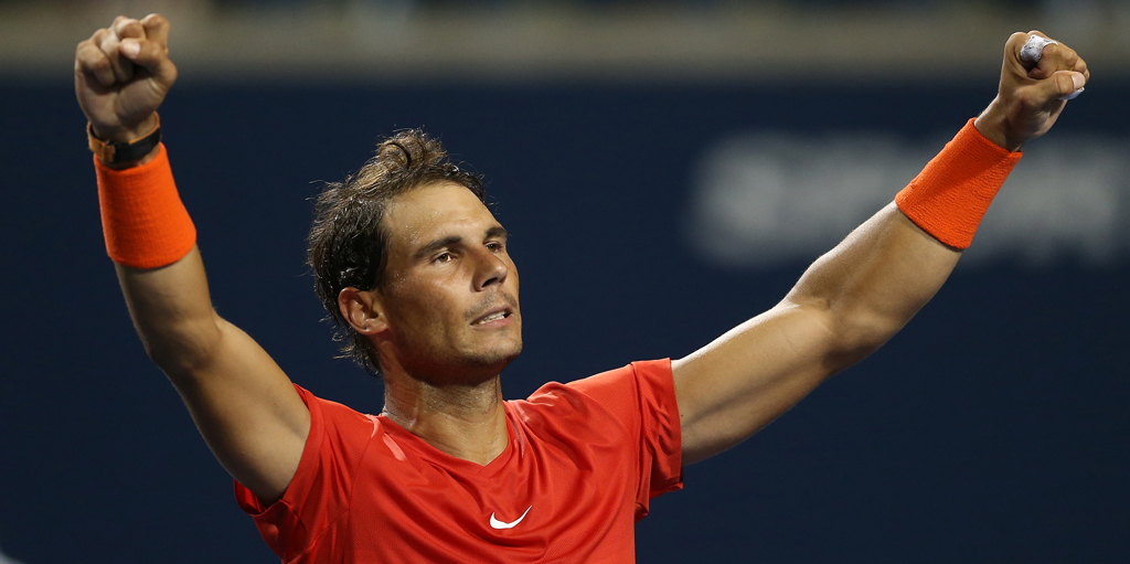 Rafael Nadal celebrates Rogers Cup ahead of US Open