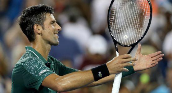 Novak Djokovic celebrates his victory