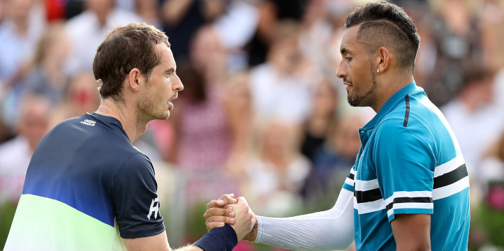 Andy Murray and Nick Kyrgios shaking hands