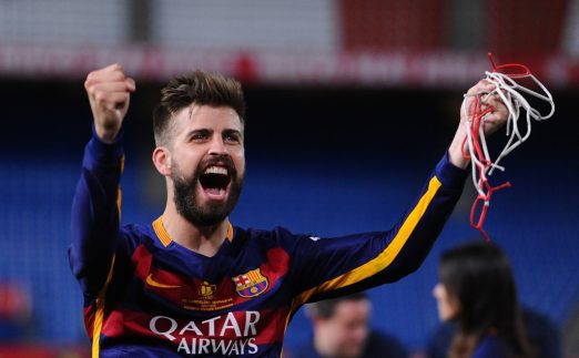 Barcelona footballer Gerard Pique celebrates