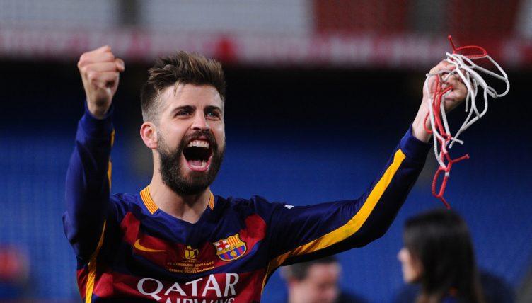 Barcelona footballer Gerard Pique celebrates