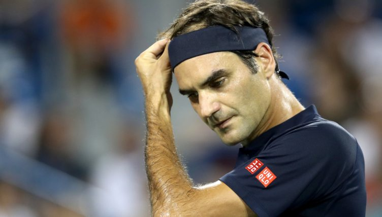 Roger Federer looking downcast