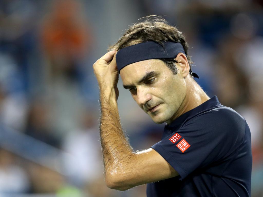 Roger Federer looking downcast