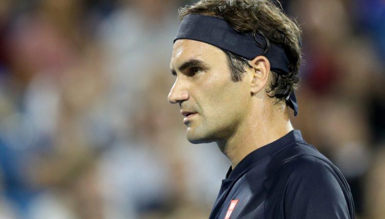 Roger Federer looking pensive
