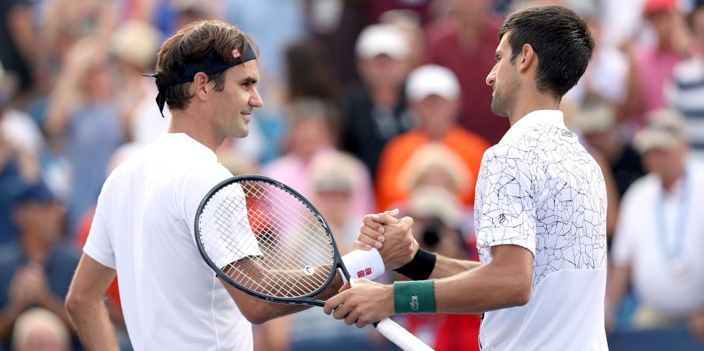Roger Federer and Novak Djokovic shaking hands