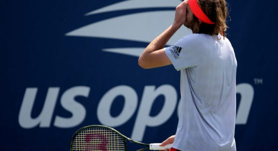 Stefanos Tsitsipas frustrated