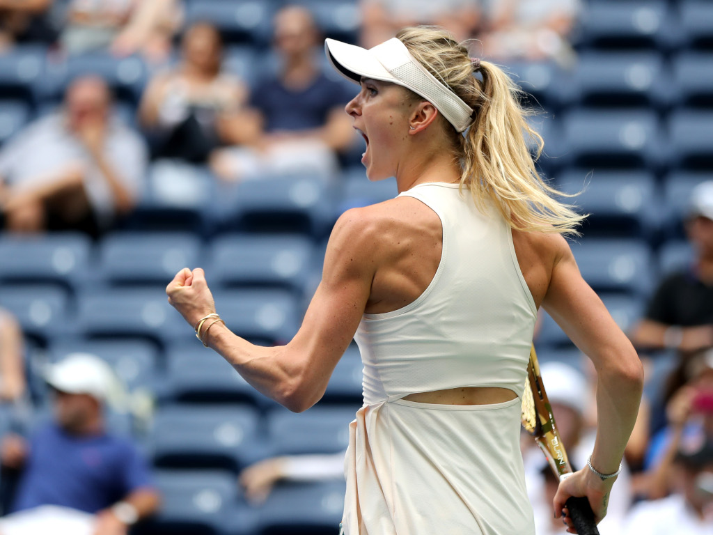 Elina Svitolina flexing her muscles