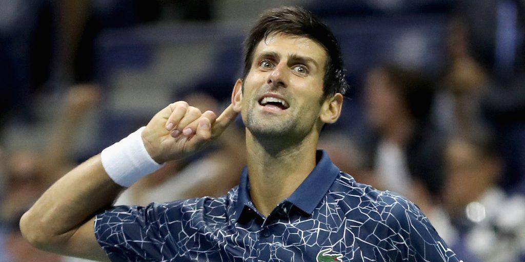 Novak Djokovic performing