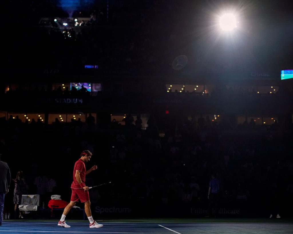 Roger Federer in the spotlight