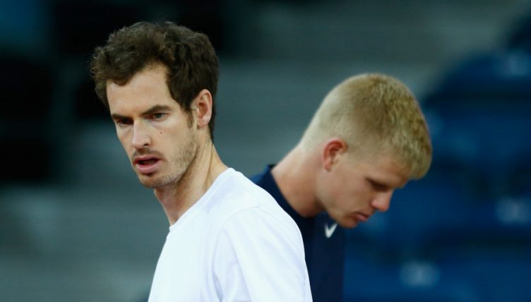 Andy Murray and Kyle Edmund training