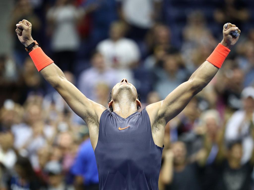 Rafael Nadal celebrates victory