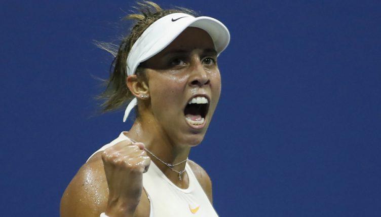 Madison Keys celebrates US Open