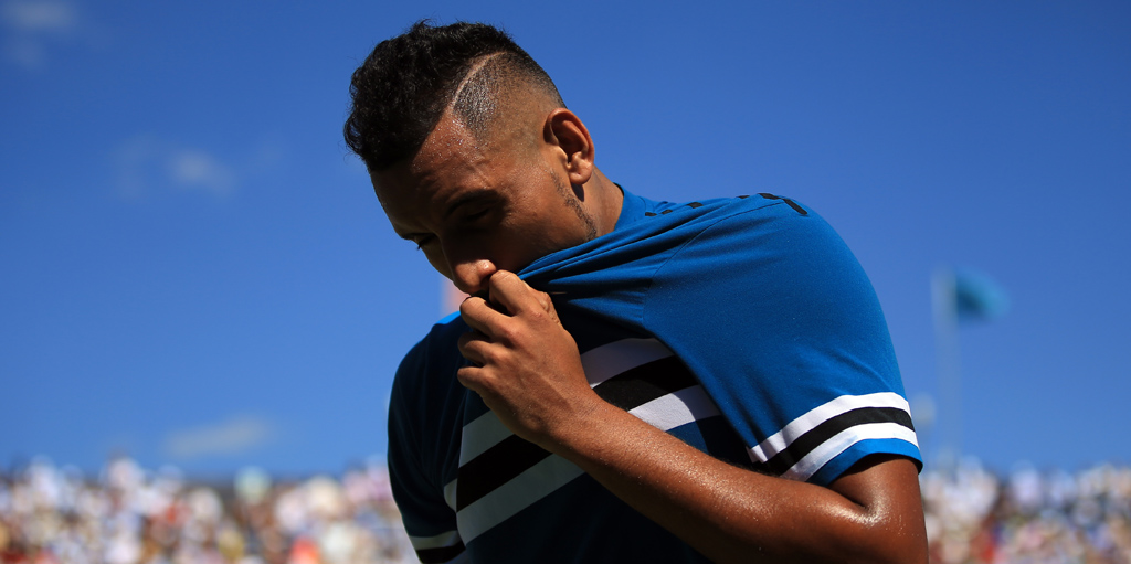 Nick Kyrgios looking down