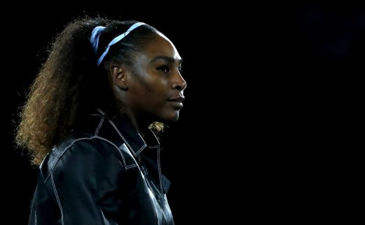 Serena Williams arrives on court