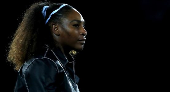 Serena Williams arrives on court