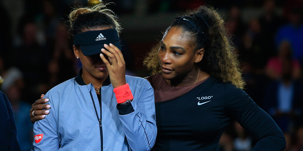Serena Williams comforts Naomi Osaka at US Open